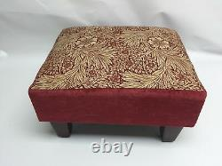 Footstool pouffe Stool Morris & Co Marigold Red dark wood British made