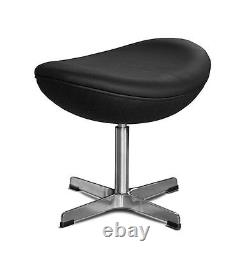 Footstool suitable for Arne Jacobsen Egg chair retro. Real leather black
