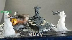 Fully Assembled Ship Model JAPANESE YAMATO Being Attacked with Seascape Base