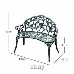 Garden Bench Porch Park Chair Seater Antique Rose Style Cast Aluminium