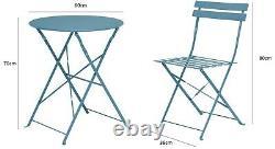 Garden Bistro Set Matt Blue 3 Piece Outdoor Garden Set 2 Chairs & 1 Table Patio