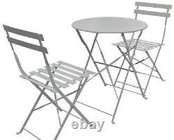 Garden Bistro Set Matt Grey 3 Piece Outdoor Garden Set 2 Chairs & 1 Table Patio