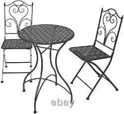 Garden Bistro Set Patio Set 3 Piece Set 2 Chairs & 1 Table Patio Black Metal