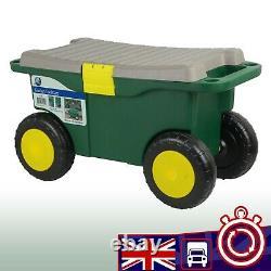 Garden Kneeler Tool Storage Wheeled Portable Weeding Cart Seat Stool Accessory