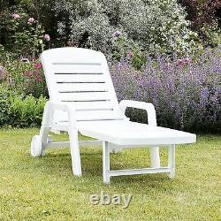 Garden Sun Lounger Resol Palamos Plastic Home Garden Adjustable Reclining White