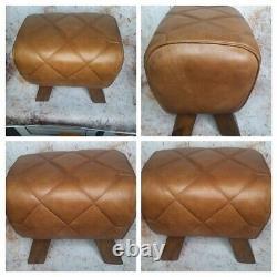 Genuine Leather Brown Pommel Horse Stool Footstool Vintage Seat 38cm wide