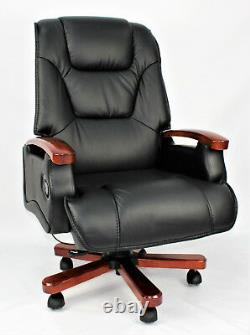 Genuine Leather Full Recliner Executive Office Chair Superb Quality Black Swivel
