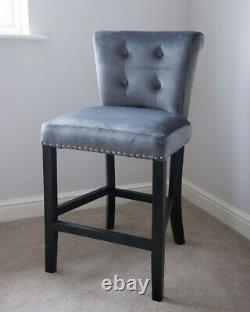 Giovanni Velvet Upholstered Dining Chair Knocker Back Bar Stool Grey Or Black