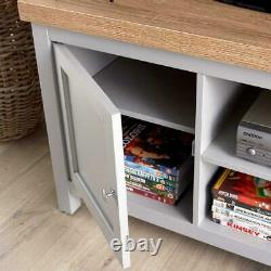 Grey Oak TV Stand Two Tone 1 Door Cabinet Television Unit Open Shelf Cable Tidy