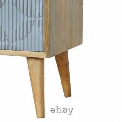 Grey Painted Carved Bedside Cabinet Bedside Table Side Table Scandinavian Style