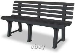 Grey Plastic Garden Bench Outdoor Patio Furniture Durable Terrace Three Seater