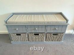 Grey Twin Seater Storage Bench Home Furniture with Drawers Wicker Baskets Cushion