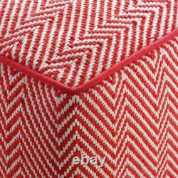 HABITAT DURRIE square low pouffe red/white rrp £95 NOW £60 FREE P & P