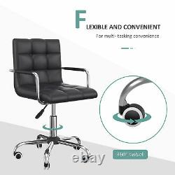HOMCOM Swivel Faux Leather Office Chair Armchair Low Back Dining Black Wheels