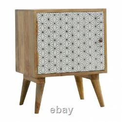 Hand Made Solid Wood Geometric Printed Bedside Cabinet / Side Table With Shelves