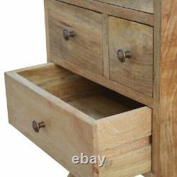 Handmade 4 Drawer Bedside Table Natural Oak Solid Wood Quality Scandi Furniture