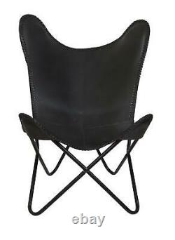 Handmade Black Leather Butterfly Chair Living Room Chairs Replacement Only Cover