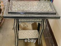 Handmade Game Wood Table Chess & Backgammon & Poker Inlaid Shell 34