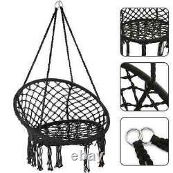 Hanging Hammock Chair Outdoor Indoor Garden Patio Rope Net Swing Seat BLACK