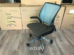 HumanScale Diffrient World Task Chair Adjustable Arms Black Frame Thalo Fabric