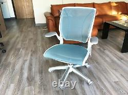 HumanScale Diffrient World Task Chair Fixed Arms White Frame Pinstripe Cyan