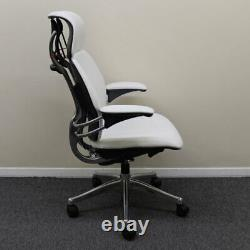 Humanscale Freedom Headrest Chair, White Leather with Polished Frame Showroom Mo