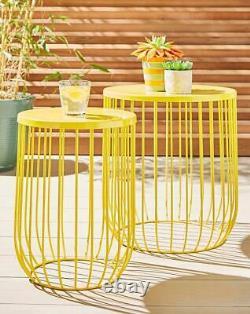 Indoor Outdoor Garden Patio Balcony Set of 2 Metal Wire Ochre Side Coffee Tables