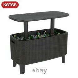 Keter Bevy Bar 56 Litre Rattan Cool Drinks Cooler Box Party Summer Garden Table