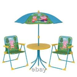 Kids Peppa Pig Garden Patio Set Furniture With Table Chairs & Foldable Parasol