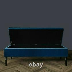 Large Ottoman Foot Stool Storage Box 2Seater Bench Seat Pouffe Soft Plush Velvet
