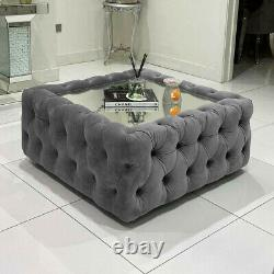 Large Square Chesterfield Glass Coffee Table Footstool Pouffe Soft Plush Velvet