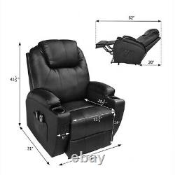 Leather Recliner Chair Single Couch Theater Sofa Chair Massage Lay Back Chair