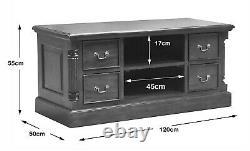Mahogany Screen TV Media unit with Four Drawers Solid Mahogany Wood