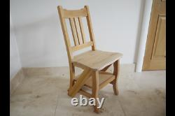 Mahogany Wooden Chair Steps Unfinished Kitchen Dining Folding Library Ladder
