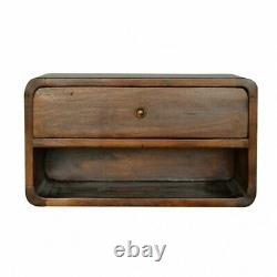 Mid Century Deco Style Wall Mounted Bedside Table / Side Table In Dark Wood