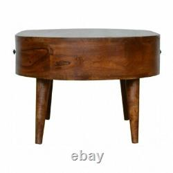 Mid Century Modern Rounded Coffee Table With Drawers Dark Chestnut Finish