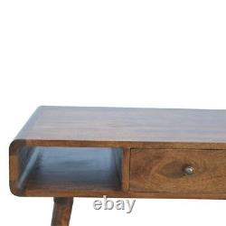 Mid Century Style Coffee Table With Drawers Solid Wood Dark Chestnut Finish