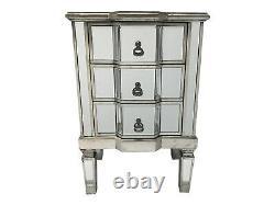Mirrored Bedside Chest 3 Drawer Venetian Storage Furniture Home Decor Interiors