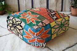 Moroccan Handmade Pouf Berber Vintage Rug Floor Cushion Square Ottoman Footstool