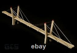 N Scale 30 (400') Cable-Stayed Suspension Bridge, Fully Assembled, Grey