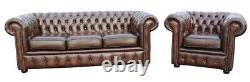 New Chesterfield Sofa 3 2 Seater Genuine Leather Settee Couch Antique Brown