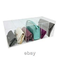 New! Deluxe Large 6 Slot Acrylic Purse/clutch/handbag Organizer Pocketbook Bin