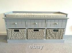 New Elegant Grey Storage Unit Bench Hallway Window Seat Drawers Bedroom