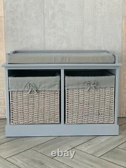 New Grey Storage Bench Shoe Storage For Hallway Porch Seat Ottoman Wicker Basket