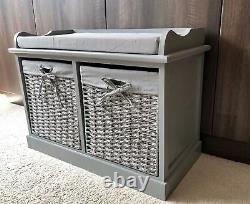 New Grey Vintage Shabby Chic Storage Bench Ottoman Window Seat Bedroom Furniture