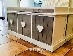 New Shabby Chic Vintage Shoe Storage Bench Window Seat Hallway Furniture Ottoman