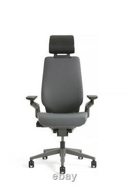 New Steelcase Gesture Chair with Adjustable Headrest Wrap Black Frame Graphite