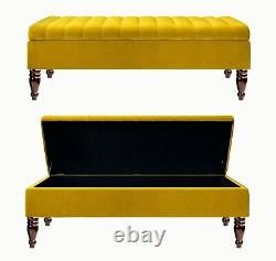 Ottoman Box Velvet Upholstered Footstool Bench Coffee Table Pouffe End Table