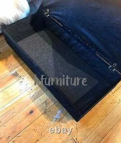 Ottoman Pouffe Wooden Chesterfield Velvet Footstool Box With Storage Black
