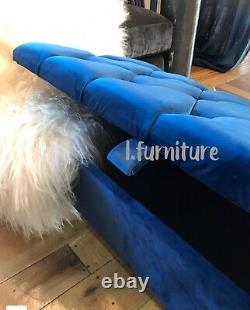 Ottoman Pouffe Wooden Chesterfield Velvet Footstool With Storage Blue